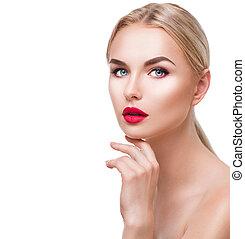 piękno, makijaż, odizolowany, dziewczyna, jasny, portret, biały, blondynka
