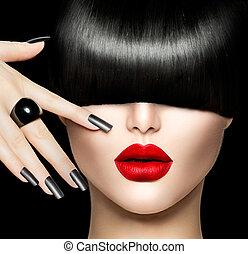 piękno, makijaż, włosy, manicure, modny, portret, dziewczyna...