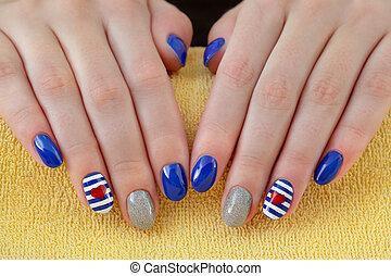 piękno, manicure, fingernails, traktowanie