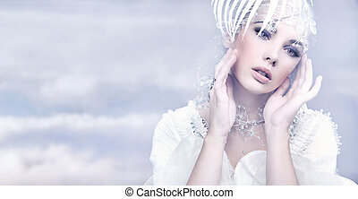 piękno, na, kobieta, zima, tło