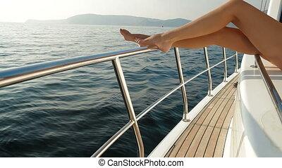 piękno, na, luksus, jacht