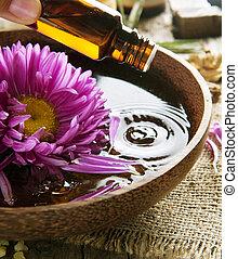 piękno, oil., aromatherapy., traktowanie, zdrój, istotny