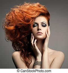 piękno, portrait., fryzura