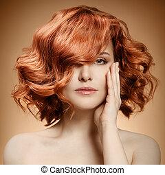 piękno, portrait., kędzierzawy włos