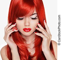 piękno, portrait., piękny, dziewczyna, z, czerwony, długi, hair., manicured, na
