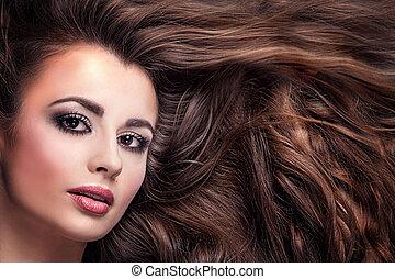 piękno, portret dziewczyny, z, długi, hair.