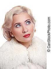 piękno, portret kobiety, z, falisty, blond włos, styl