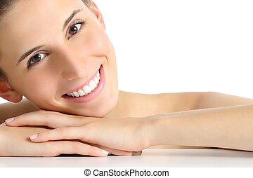 piękno, portret kobiety, z, niejaki, doskonały, biały, uśmiech