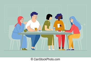 piękno, przyjaźń, ilustracja, multi-ethnic, między, barwny, kobiety