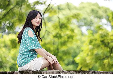 piękno, romantyk, dziewczyna, outdoors