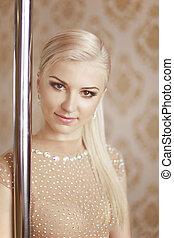 piękno, słup, tancerz, blond, dziewczyna, portrait., pociągający, sprytny, młody, ładny, woman., oko, makeup.