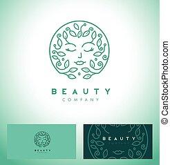 piękno, samicza twarz, logo