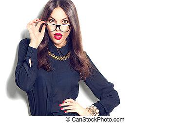 piękno, sexy, fason modelują, dziewczyna, przy okularach, odizolowany, na białym, tło