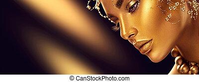 piękno, wzór, dziewczyna, z, święto, złoty, błyszczący, profesjonalny, makijaż