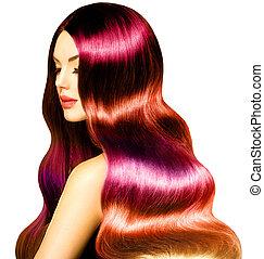 piękno, wzór, dziewczyna, z, długi, zdrowy, barwny, falisty włos