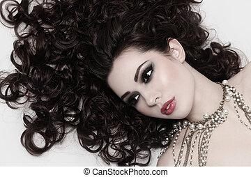 piękno, z, kędzierzawy włos