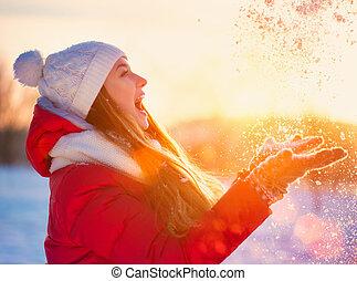 piękno, zima, dziewczyna, mająca zabawa, w, zima, park