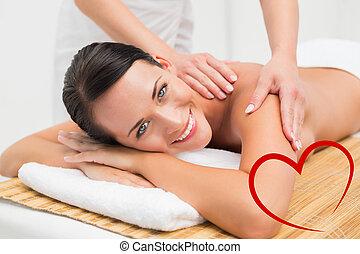 piękny, łopatka, brunetka, złożony wizerunek, massag,...