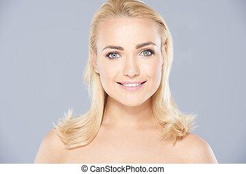 piękny, śliczny, kobieta, blond, skóra