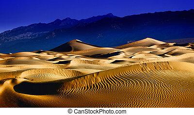 piękny, śmierć, diuna, piasek, kalifornia, budowy, dolina