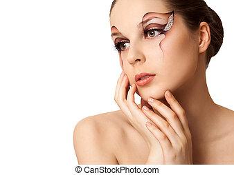 piękny, święto, fason, makijaż