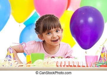 piękny, świętując, dziewczyna, urodziny