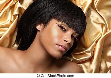 piękny, afrykanin, złoty, kobieta