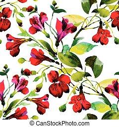 piękny, akwarela, próbka, seamless, kwiaty, malarstwo