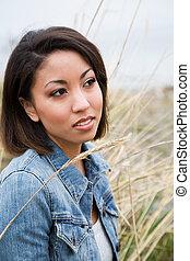 piękny, amerykańska kobieta, afrykanin