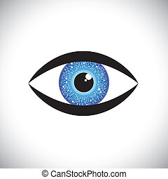 piękny, błękitne oko, ludzki, irys, kolor, tech, objazd, ...
