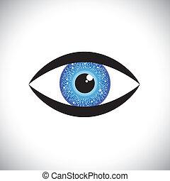 piękny, błękitne oko, ludzki, irys, kolor, tech, objazd,...