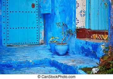 piękny, błękitny, chefchaouen, medyna, safian