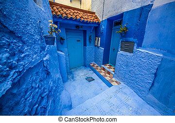 piękny, błękitny, safian, miasto, medyna, chefchaouen, ...