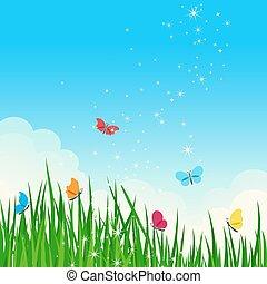 piękny, błyszczący, lato, meadow.