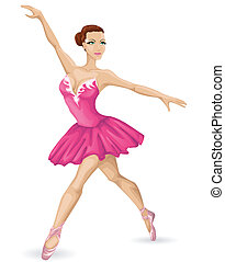 piękny, balerina, wektor, ilustracja