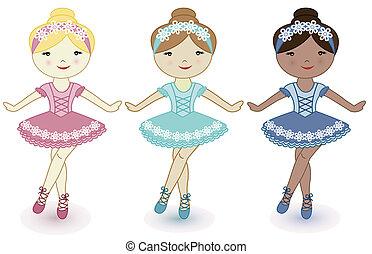 piękny, baleriny, dziewczyny, trzy