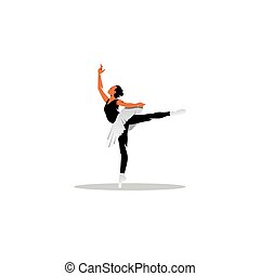 piękny, balet, illustration., tancerz, młody, wektor, ...