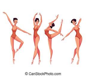 piękny, balet, komplet, rajstopy, tancerze, młody, pantofelki