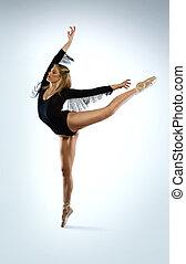 piękny, baletnica, arabeska