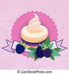 piękny, barwny, jadło, deser, zachwycający, słodki, ciastko