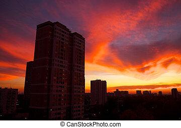 piękny, barwny, powierzchnia, mieszkaniowy, moskwa, prospekt okna, evening., sunset.