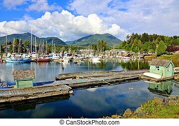 piękny, bc, wyspa, pokojowy brzeg morza, vancouver, kanada, ucluelet, port