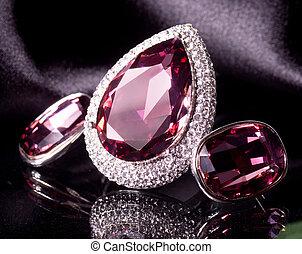 piękny, biżuteria, na tle