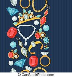 piękny, biżuteria, próbka, seamless, drogocenny, stones.