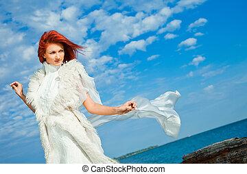 piękny, biały, kobieta, seacoast
