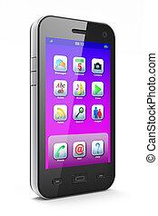 piękny, biały, smartphone, tło