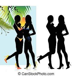 piękny, bikini, dziewczyny, sylwetka