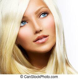 piękny, blond, dziewczyna, odizolowany, na, niejaki, białe tło