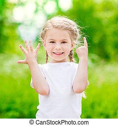 piękny, blond, mała dziewczyna, pokaz, sześć, palce, (her, age)