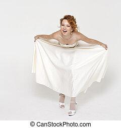 piękny, blondynka, panna młoda, chodząc, poślubny strój